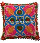 "Indian Vintage Suzani Pillow Cases 16X16"" Embroidered Cotton Throw Cushion Cover"