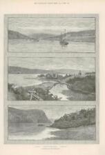 1890-antica stampa Canada Newfoundland la scie Petrie FIUME punto (174)