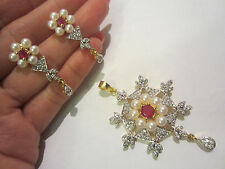 Pearl Ruby Costume Jewellery Sets
