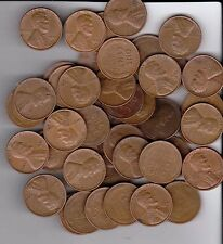 1952D Wheat Pennies, Full roll of 50 pennies all readable dates.