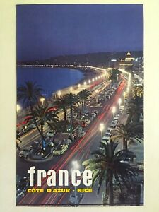 "RARE VTG 1964 MID CENTURY "" FRANCE COTE D'AZUR NICE "" COLLECTOR'S TRAVEL POSTER"