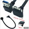 Down Angle 90 Degree USB 3.0 A Plug to Micro B Angled Locking Screws Panel Cable