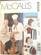 McCalls 2233 Chef Unisex Uniform Essentials: Apron, Jacket, Hat, Pants Sz 34-36