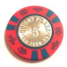 $5 DUPONT PLAZA Casino RED & BLUE Poker Chip SAN JUAN Puerto Rico Bud Jones