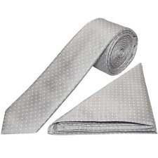 Silver and White Polka Dot Skinny Mens Tie Handkerchief Set Wedding Tie PromTie