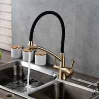 Gold + Black Brass Kitchen Pure Faucet Dual Handles Deck Mounted Sink Mixer Tap