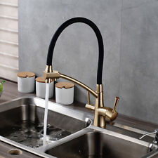 Gold + Black Brass Kitchen Pure Faucet Dual Handles Deck Mounted Sink Mixer Tap