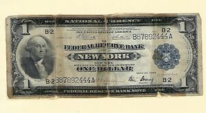 1918 National Currency New York Federal Reserve Bank Large Size $1 Note POOR