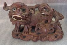 antique Chinese carved teak wood Foo dog sculpture