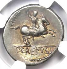 Roman Republic Pub. Crepusius AR Denarius Coin 82 BC - Certified NGC VF
