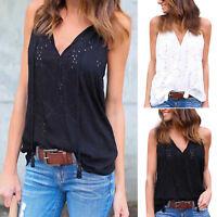 Women's Sleeveless Summer Cotton Hollow Out T-Shirt Blouse Vest Casual Tank Tops