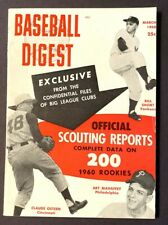 VINTAGE BASEBALL DIGEST OFFICIAL SCOUTING  REPORT MARCH 1960 VOL 19 NO 2
