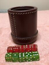 Vintage Dice Cup Dark Maroon Stitched Leather Ribbed Inside - Plus Some Dice