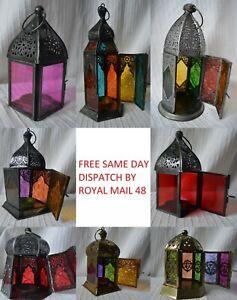 Metal Hanging Tealight Candle Lantern holder lighting moroccan indian lamp glass
