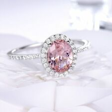 2Ct Oval Cut Pink Sapphire & Diamond Wedding Engagement Ring 14K White Gold Over