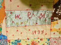 """Antique Vintage Crazy Quilt Cotton & Satin DATED 1938 Colorful 77"""" x 65"""""""