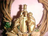 VINTAGE CHRISTMAS ORNAMENT, WICKER WREATH, 3 DIMENTIONAL WE THREE KINGS