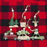 Lots Wooden Christmas Craft Cabin Elk Xmas Home Tree Decor Car Ornament Supply