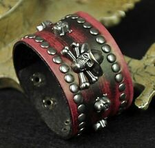 K35 Punk Cool Skull Studded Vintage Leather Wristband Bracelet Wide Cuff RED