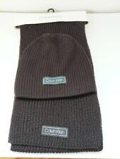 Calvin Klein Mens Hat And Scarf Set Msrp $98 Black