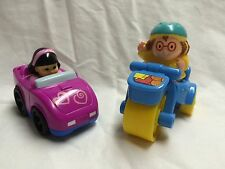 Fisher Price Girl in a purple Car, and Girl on a Scooter