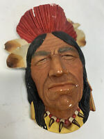 Vintage Bossons Chalkware INDIAN CHIEF Wall Head Mid Mod Retro England