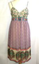 DERHY DRESS FITTINGS FEMALE SILK MULTICOLORED & BEADS SIZE SMALL 36 EXCELLENT