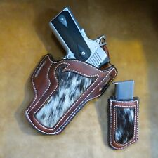 1911 COMMANDER OWB  HAIR ON COW HIDE / LEATHER  HOLSTER  WITH MAG POUCH