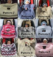*7*KNITTING PATTERNS* BABYDOLL HANDKNIT DESIGNS CAR SEAT BLANKETS BABY 0-9M SEAT