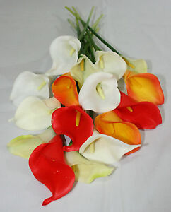 12 Stem Bunch of Real Touch Calla Lilies - Wedding Artificial Flowers
