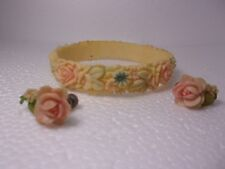 bracelet and earrings multi colored flowered celluloid