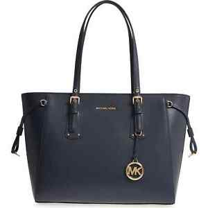 NWT MICHAEL MICHAEL KORS VOYAGER MEDIUM MULTIFUNCTION LEATHER TOTE ADMIRAL BLUE