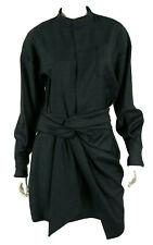 ISABEL MARANT ETOILE $490 NWT Navy Plaid Wool Tie Waist Shirt Dress 42