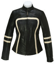 L Black Retro Women Real Leather Jacket Cafe Racer Motorcycle Riding Biker