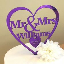 Purple Personalised Mr & Mrs Wedding cake topper