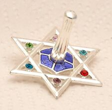 Silver Plated Magen David Metal Dreidel With Gemstones #2