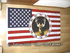 Fahne Flagge USA Hirsch - 90 x 150 cm