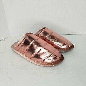 Dearfoams Women's Metallic Rose Memory Foam Puffer Scuff Slippers BRAND NEW!