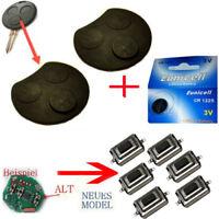Für 2x Smart Schlüssel Funkschlüssel 3 Tasten Gummi + 6x Taster + Batterie 1225