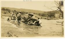 Argentine, Voiture d'époque traversant une rivière  Vintage silver print. V