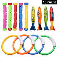 13x Underwater Diving Toys Dive Ring/Torpedo/Sticks Swimming Pool Toy Game Kids