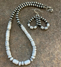 Sterling Silver White Buffalo Turquoise Navajo Pearls Necklace and Earrings Set