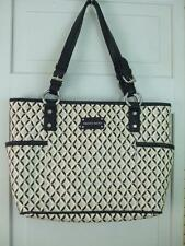 Franco Sarto Shoulder Bag Handbag Purse Black Tan Washable Vinyl Multi Pockets