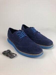 Cole Haan Men's Blue Suede ØriginalGrand Wingtip Oxford.  Men's Size 12