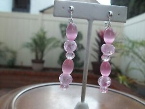 Gorgeous Pink Tube Shape & Pink/White & Pink Sheer Dangling Clip On Earrings