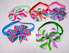 Lot Of 5 Small Dog Adjustable Collar Fancy Colorful Bows