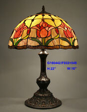 *LIMITED* TIFFANY STYLE STAINED GLASS HUGE ROSE LEADLIGHT TABLE LAMP