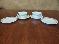 Vintage Corelle Crazy Daisy Spring Blossom Dinnerware 2 Cup and 4 Saucers Green