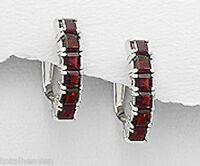 Solid Sterling Silver 18mm Red Garnet Huggies Earrings 3.6g SO PRETTY