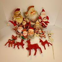 VINTAGE Lot Red Christmas Flocked Reindeer Plastic Face Santas